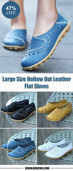 [47% off]Comfortable Large Size Hollow Out Leather Flat Shoes.Suit for daily walking,meeting and dating.4 colors for choose.light and beautiful.#flatshoes #loafers #fashionstyle
