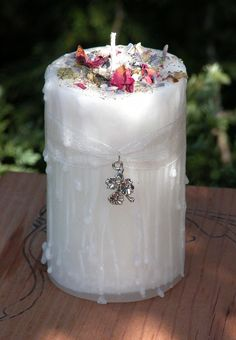 White Witch  Herbal Alchemy Magick Candle by WhiteMagickAlchemy (I don't believe in witchcraft, but think the candle is so pretty!)
