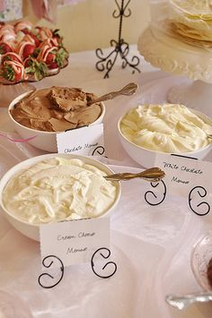 Crepe Bar}Crepe Filling – White Chocolate Mousse and Cream Cheese Mousse-brunch bridal shower Cream Cheese Crepe Filling, Crepes Filling, Delicious Desserts, Dessert Recipes, Yummy Food, Pancake Recipes, Waffle Recipes, Pancake Fillings, Breakfast Recipes