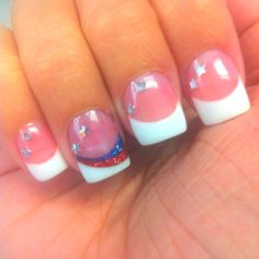 Red white blue french manicure