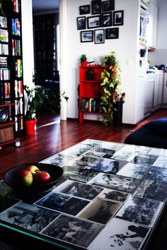Our living room. I have a habit of sending myself a black-and-white postcard from my travels and I put them to the living room table. Contemporary, Black And White, Living Room, Table, Home Decor, Decoration Home, Black N White, Room Decor, Black White
