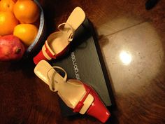 #SergioRossi #coralheels and cream leather shoes