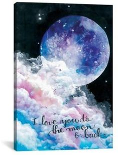 This is a digital print of my original, watercolor and ink illustration! Print lettering reads I Love You to the Moon and Back. Printed on canvas Watercolor Design, Watercolor Illustration, Watercolour, Watercolor Postcard, Back Painting, Stars And Moon, Ciel, Painted Rocks, Canvas Wall Art