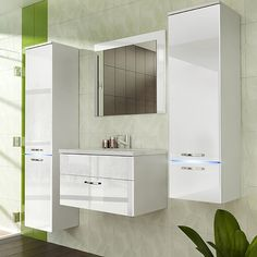 Composition de meuble de salle de bain complète blanc laqué design LIBERTA