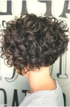 Short Hair That Rocks Inverted Brown Bob ❤ Here is a list of short curly hairstyles and tips for girls with curls. In case your curls are out of control and you can't tame the wild tresses. Short Curly Hairstyles For Women, Haircuts For Curly Hair, Short Wavy Hair, Curly Hair Cuts, Curly Bob Hairstyles, Curly Hair Styles, Spiral Perm Short Hair, Short Permed Hair Before And After, Short Curly Bob Haircut
