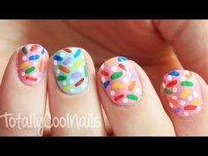 Rainbow Sprinkle Nails | TotallyCoolNails
