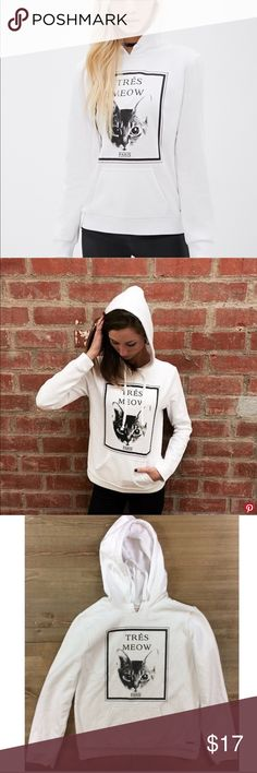 """7caa9f4a0e Forever 21 ASPCA TRES MEOW cat kitty hoodie SMALL Forever 21 """"tres meow""""  Paris"""