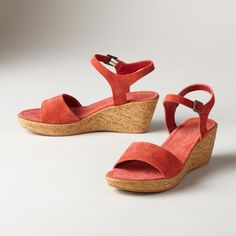"""DIVINE COMFORT SANDALS--Our exclusive go-anywhere, go-with-everything Italian sandals brighten any outfit. Choose one in every shade. Suede. Imported. Euro whole sizes 36 to 41. 36 (US 6.5), 37 (US 7.25), 38 (US 8), 39 (US 8.75), 40 (US 9.5), 41 (US 10.25). 2-1/2"""" wedge."""