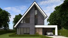 Villa in Tynaarlo - WoonSubliem Style At Home, Small Villa, Sims House Design, Modern House Facades, Modern Villa Design, American Houses, House Elevation, Industrial House, Facade House