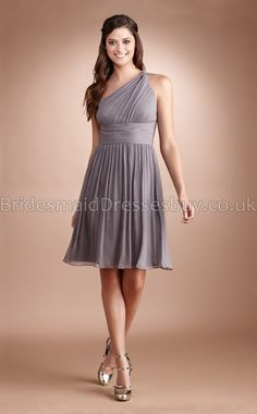 One Shoulder Silver Short Bridesmaid Dresses I really LIKE this one and it would work with the shoes too.