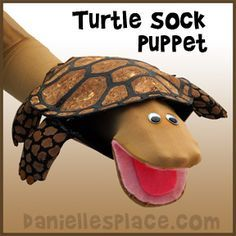 Turtle Sock Puppet Craft for Kids from www.daniellesplace.com