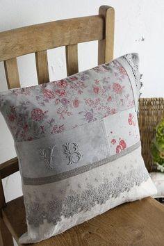 Antique Linen Monogram Cushion ~ antique textile fabric, lace