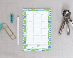 Hexagon Grocery Shopping List Notepad Blues/Greens | Meredith Collie Paper