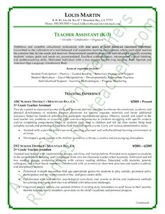 sample resume for preschool teacher