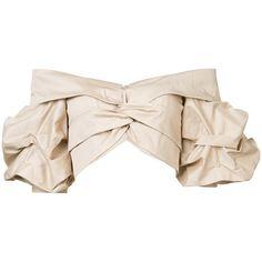 Johanna Ortiz Beige 'Mestizo' Off Shoulder Top Beige Crop Tops, Beige Top, Pink Tops, Cropped Tops, Off Shoulder Shirt, Off Shoulder Tops, Beige Shirt, Flutter Sleeve Top, Ruffle Sleeve