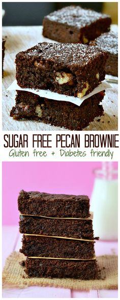 The BEST diabetes friendly treat & Healthiest brownie on earth! This Sugar free pecan brownie is absolutely safe for diabetic, low carb using a mix of coconut flour and almond meal, healthy olive oil and naturally sweetened with erythritol . #lowcarb #bro