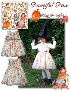 Bobbing for apples illustrated dress. This is a one off design created for a showcase https://www.facebook.com/fancifulfoxs