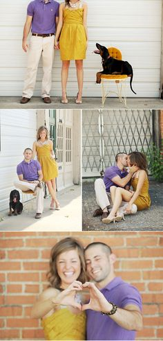 Save the date photo op - LOVE everything about it - especially her dress and the dog!
