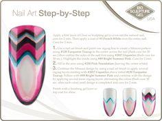 Missoni step-by-step Bio Sculpture Nails, Zigzag Line, Sculpting Gel, Nail Art Brushes, Sculpture Ideas, Nail Stuff, 3d Nails, Nail Art Galleries, Natural Nails
