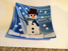 Fused glass snowman plate by fusedglassbyjemima on Etsy, $25.00