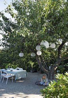 In the garden there is a beautiful corner under the big old trees. We love the rice paper lamps in the trees, providing a marvelous atmosphere.