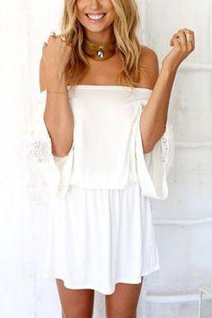 Off The Shoulder Stretch Waistband Mini Vestido com Crochet Lace Detalhes