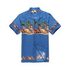 ab3cb608 Hawaiian Shirt Aloha Shirt in Blue Vintage Cars and Surf Boards, Men's, Size :
