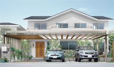 アーキフィールド Garage Roof, Roof Design, Exterior, Outdoor Decor, Home Decor, Garages, Decoration Home, Room Decor, Outdoor Rooms