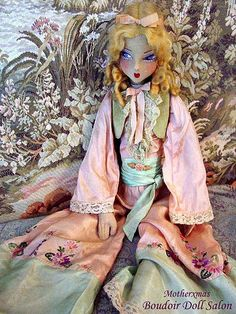 Boudoir Doll Flapper Whoopie doll. She is wearing her original pant outfit. Dolls with this face are condiered rare and desirable.