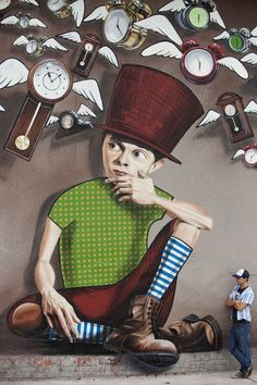 Graffiti : Another overview of the mural entitled 'Seeing is Believing (Time Catcher)' by artist Lonac in Croatia.
