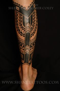 Calf Tattoo Designs for Men | Polynesian Calf Tattoo
