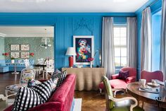 Chicago Co-Op at 1500 Lake Shore Drive interior design by Summer Thornton. Living room features farrow and ball St Giles blue, burgundy red silk velvet sofas, joan miro artwork, & more. Interior Design Process, Luxury Interior Design, Interior Ideas, Bright Paint Colors, Bright Paintings, Interior Paint Colors, Blue Rooms, Formal Living Rooms, Decoration