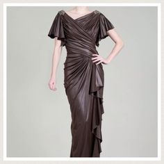 ✅50% sale! Tadashi Shoji formal evening gown S M Priced to sell! ✅✅   Tadashi Shoji. Master of class.  Grecian inspired evening dress.  Superbly regal, this copper head-turner features gathered, draped, and flowing umber fabric true to Grecian inspiration. Asymmetric neckline, flutter sleeves, jeweled shoulders, concealed back zip, fully lined. Floor length. Original hem, to be tailored to your height.  Recommend size S - M as the fabric has stretch. Bought final sale, but doesn't fit my XS…