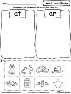 **FREE** Word Family Review Picture Sorting AT/AR Worksheet. Topics: Reading, and Word Families. #MyTeachingStation Phonics Worksheets, Phonics Activities, Word Family Activities, Reading Worksheets, Learning Activities, Three Letter Words, Family Worksheet, Jolly Phonics, Teaching Reading