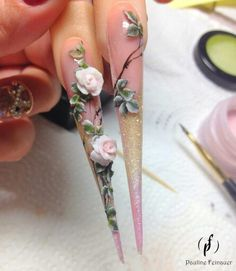 Flowers on nails 3d Nail Art, 3d Acrylic Nails, Crazy Nail Art, Stiletto Nail Art, Crazy Nails, 3d Nails, Pink Nails, Pastel Nails, 3d Nail Designs