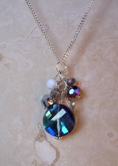 Turquoise Crystal Cluster Bead Pendant by twinkleavenue on Etsy. $12.00, via Etsy.