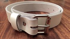 Leather Belt  White mens handmade roller buckle by JBLeatherSupply