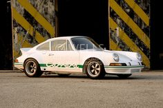 Image of a white sports car coupe in California, 1972 Porsche 911 Carrera RSR Hot Rod, property released