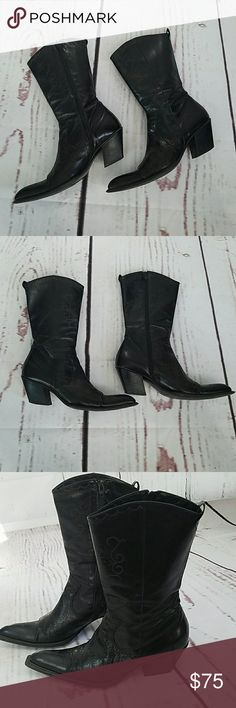 Colin Stuart leather pointy toe cowboy boots 10 Made in Italy. Soft Leather. Embroidered print. Broke in nice. Beautiful. Colin Stuart Shoes Ankle Boots & Booties