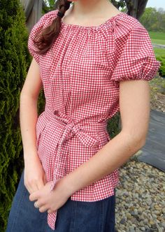 Cute Red Check Gathered Blouse with Sash. $14.40, via Etsy.
