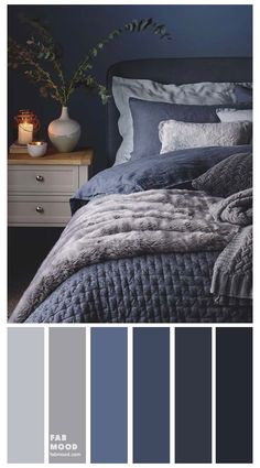 Dark Blue Bedrooms, Blue Master Bedroom, Navy Bedrooms, Blue Rooms, Grey Bedroom Walls, Master Bedroom Color Ideas, Dark Blue Bedroom Walls, Charcoal Bedroom, Navy Blue Walls