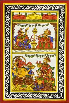 Royal Couple and Ganesha Puja (Phad Painting on Cloth - Unframed) Indian Artwork, Indian Folk Art, Indian Art Paintings, Unique Paintings, Rajasthani Painting, Rajasthani Art, Phad Painting, Mural Painting, Krishna