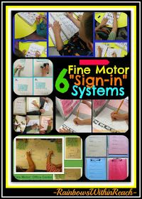 """photo of: 6 Different Fine Motor """"Sign-in"""" Systems used in Preschool and Kindergarten, fine motor development"""