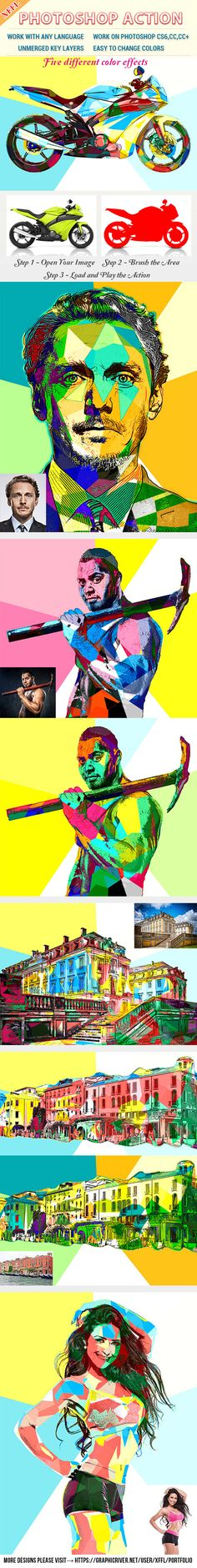 Color Block #Effect #Photoshop #Action - Photo Effects Actions