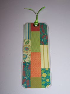 laminated paper bookmark (rd) - quilt look