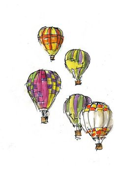 Hot air balloons printed on dictionary pages, water colored and turned into greeting cards.