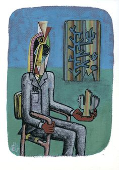 PSYCHEDELIC ID WITH STRIPED BIRD (gouache on paper 280 x 210mm)  SOLD