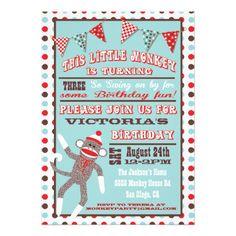 Sock Monkey Birthday Party Poster Custom Invites