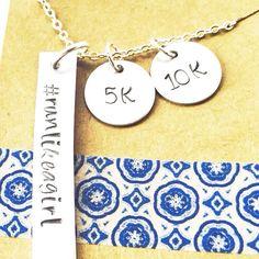 Run like a Girl race necklace 5k 10k 13.1 26.2 by UniquelyImprint
