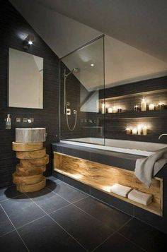 "here are some small bathroom design tips you can apply to maximize that bathroom space. Checkout Of The Best Modern Small Bathroom Design Ideas"". Wood Bathroom, Grey Bathrooms, Bathroom Ideas, Master Bathroom, Bathroom Designs, Bathroom Storage, Luxurious Bathrooms, Bathroom Layout, Bathroom Remodeling"